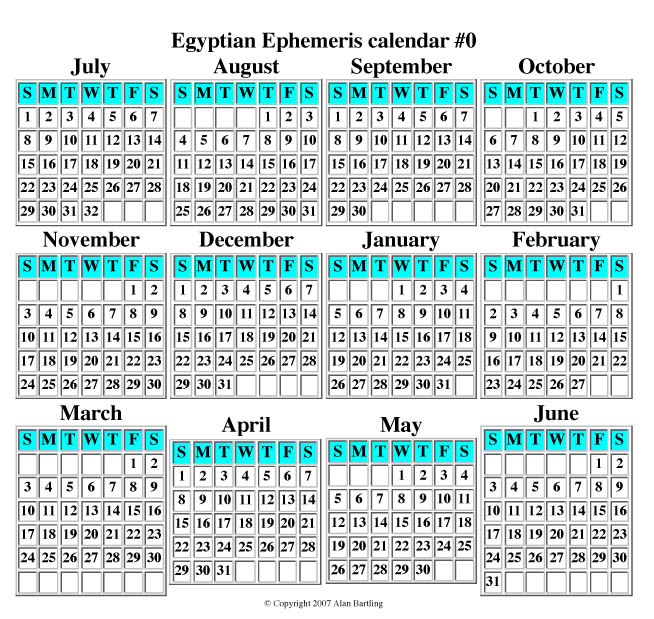 Egyptian Ephemeris Calendar #0